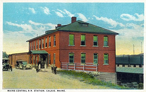 Calais, Maine - Maine Central Railroad Station Exterior (16x24 SIGNED Print Master Giclee Print w/Certificate of Authenticity - Wall Decor Travel Poster)