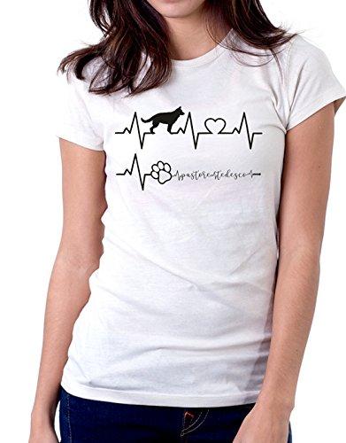 Bianco love cani Elettrocardiogramma I e Tedesco Pastore Tedesco dog humor tshirt Pastore Tshirt love simpatiche divertenti qAwxgZ