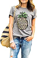 ZAWAPEMIA Women's Pineapple Printed Tops Funny Juniors T Shirt Short Sleeve Tees S Gray