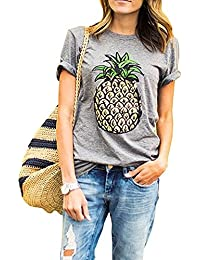 Womens Cotton Letter Printed Casual T-Shirt Top