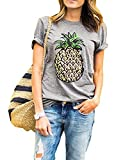 ZAWAPEMIA Women's Pineapple Printed Tops Funny Juniors T Shirt Short Sleeve Tees L Gray