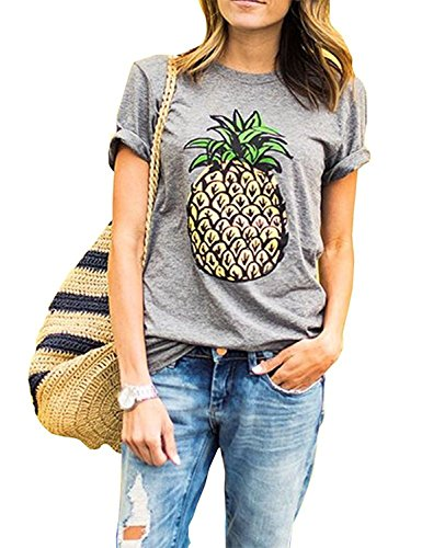 ZAWAPEMIA Women's Pineapple Printed Tops Funny Juniors T Shirt Short Sleeve Tees XL Gray