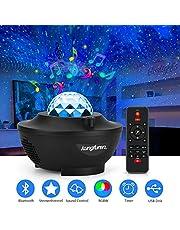 kungfuren Projektor gwiaździstego nieba z chmurą przeciwmgielną LED, projektor LED, wbudowany głośnik muzyczny, gwiaździste niebo, lampa na imprezę, Boże Narodzenie, Wielkanoc, Halloween i dla dzieci, jako dekoracja pokoju dla dorosłych