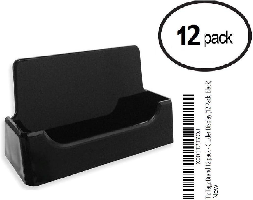 12 Pack, Black Black Plastic Business Card Holder Display Tz Tagz Brand 12 Pack