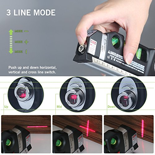 Fairbridge Multipurpose Laser Level laser measure Line 8ft+ Measure Tape Ruler Adjusted Standard and Metric Rulers