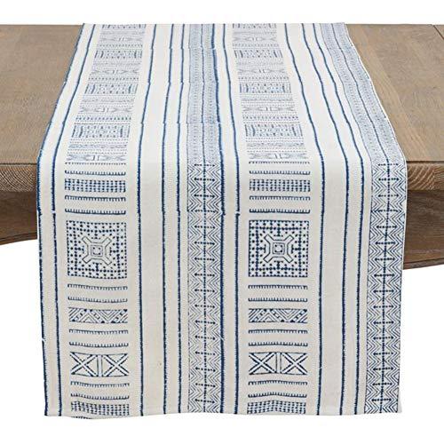 Fennco Styles Kabru Squares Hand Block Print Pure Cotton Table Runner, Home Decor, Everyday Use, Indigo, 16