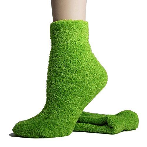 (Foot Traffic - Microfiber Socks, Soft, Warm & Fuzzy, Green (Women's Shoe Sizes 4–13))