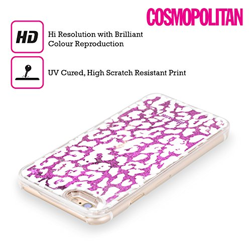 Official Cosmopolitan White Cheetah Animal Skin Patterns Purple Liquid Glitter Case Cover for Apple iPhone 6 / 6s