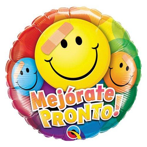Qualatex Foil Balloon 049668 Mejorate Pronto Smiley Faces 18 Multicolor