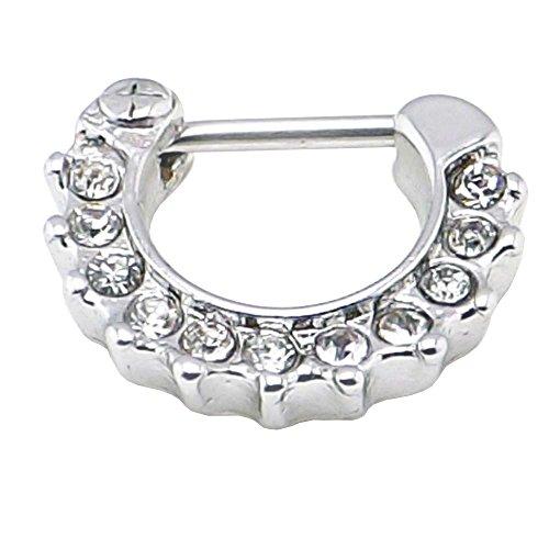 cristal clair joyau anneaux septum clicker nez de Daith piercing nez 1.2mm en acier 316L