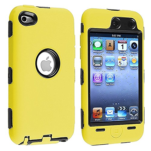 Black Hard / Yellow Skin Hybrid Case Cover compatible with Apple iPod Touch 4G, 4th Generation, 4th Gen 8GB / 32GB / 64GB