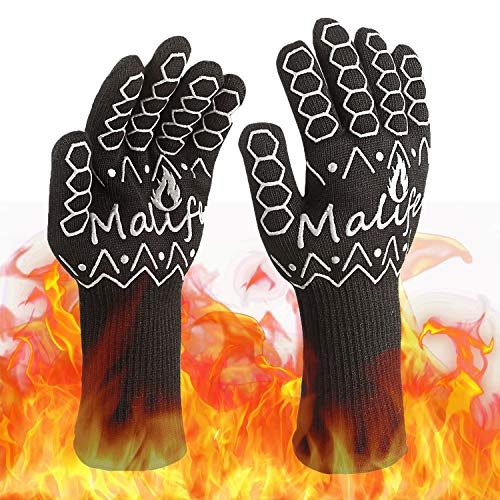 Malife BBQ Gloves, 1472°F Extreme Heat Resistant Oven Gloves, Comfortable Cotton Inside Grilling Gloves, Durable Fireproof Kitchen Oven Mitts, 1 Pair, Black.