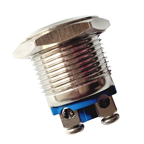 押しボタンスイッチ ドアベル 防水仕様 セルフリセット 16mm メタル 全4種 - シルバー-1個