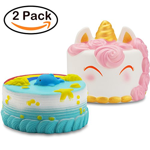 Cute Cake (R ? HORSE Jumbo Narwhal Cake Squishy Kawaii Cute Unicorn Dolphin Mousse Cream Scented Squishies Slow Rising Kids Toys Doll Stress Relief Toy Hop Props, Decorative Props Large (2Pack))
