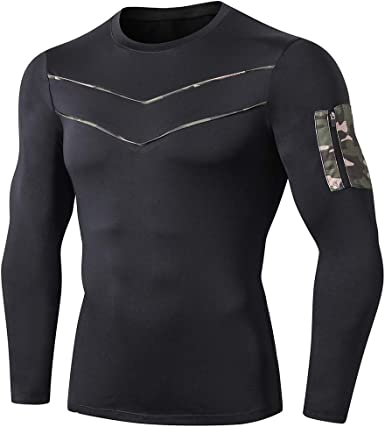 Men/'s Athletic Compression Top Sport Running Long Sleeve T Shirt Quick dry Camo