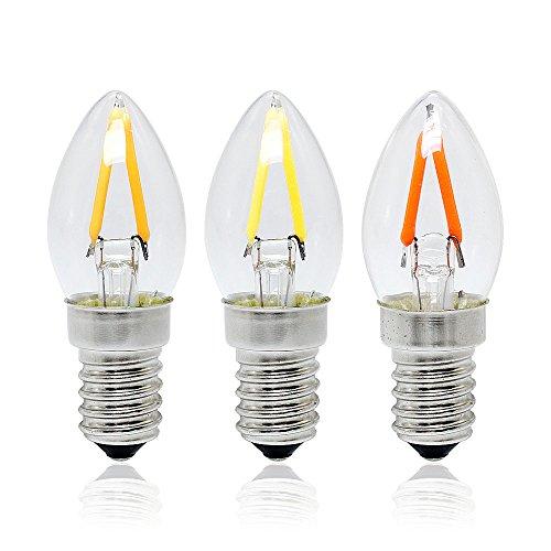 VTBO 1pcs Mini C7 Type Retro Edison Bulb E14 2W LED Filament Candle Luz AC110V Vintage Glass Lamp Equal 20W Halogen Light ChandelierWarm White ()
