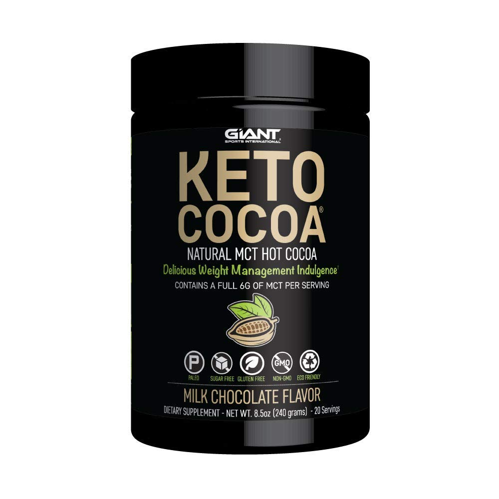 Keto Cocoa - Delicious Sugar Free Hot Chocolate Mix with 6g of MCTs for Appetite Suppressing Ketogenic Diet and Low Carb Lifestyle | No Gluten | 20 Servings by Giant Sports International