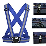 Adjustable Reflective Vest Safety Vest Elastic for Running, Jogging, Walking, Cycling Fits Over Outdoor Clothes from Zaptex (One Size, Blue)