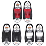 Shackcom No Tie Flat Shoelaces 3 Pack For Kids, Men & Women | Waterproof & Stretchy Silicone Tieless Shoe Laces | For Athletic & Dress Shoes, Hiking Boots & More | Eliminate Loose Shoelace Accidents
