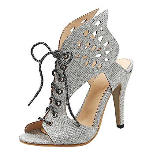 Talons Hauts Femmes Coolcept Toe Sandales Silver Peep HwUfq47I