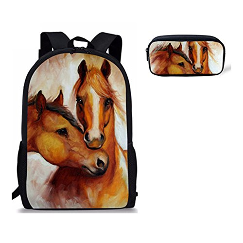 Sannovo Horse Costume Print Children Backpack Pencil Case for Primary School (4-h Horse Costume Ideas)