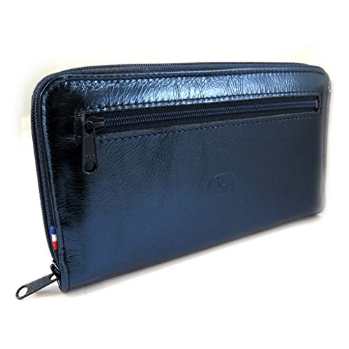Wallet + checkbook holder leather zipped 'Frandi' dark blue metal. by Frandi