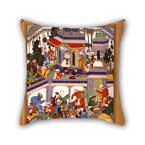 The Oil Painting Basawan - Akbar Visits The Tomb Of Khwajah Mu'in Ad-Din Chishti At Ajmer Pillow Shams Of 18 X 18 Inches / 45 By 45 Cm Decoration Gift For Adults Girls Chair Indoor Boy Friend Kids