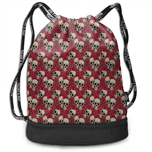 Drawstring Backpacks Bags,Graphic Skulls And Red Rose Blossoms Halloween Inspired Retro Gothic -