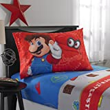 TN 4 Piece Kids Blue Red Super Mario Sheet Set Full Sized, Mario Bros Bedding Odyssey Video Game Themed Grey Brown Yellow White, Polyester