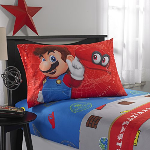 - TN 4 Piece Kids Blue Red Super Mario Sheet Set Full Sized, Mario Bros Bedding Odyssey Video Game Themed Grey Brown Yellow White, Polyester