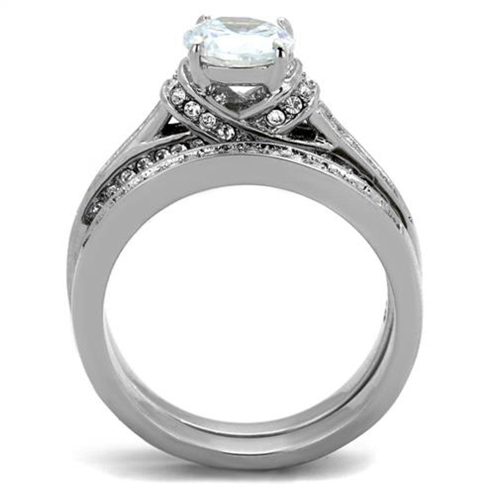 Marimor Jewelry 2.75 Ct Round Cut Cubic Zirconia Stainless Steel Wedding Ring Set Womens Sz 5-10