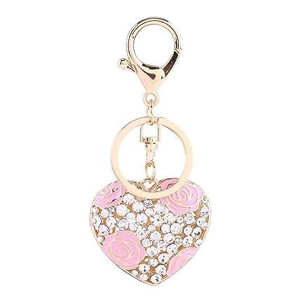 Llavero de cristal, forma de corazón Patrón de flor rosa ...