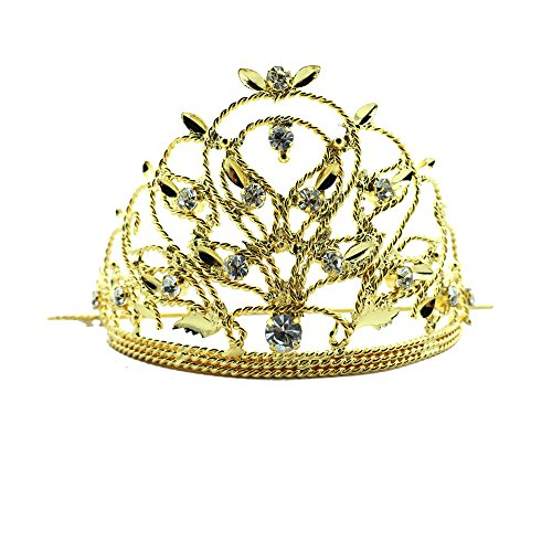 [Siwalai Thai Traditional Gold Plated Clear Crystals Hair Bun Holder (Rad Kloa) 3.5 Inches] (Thai Dance Costume)