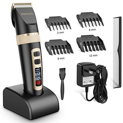ETEREAUTY Hair Clippers for Men, Cordless Hair Trimmer, Rechargeable Beard Trimmer - with Titanium Ceramic Blade, LED Display, 3 Adjustable Speeds Beard Trimmers-Christmas Gift Great for Father/Husban