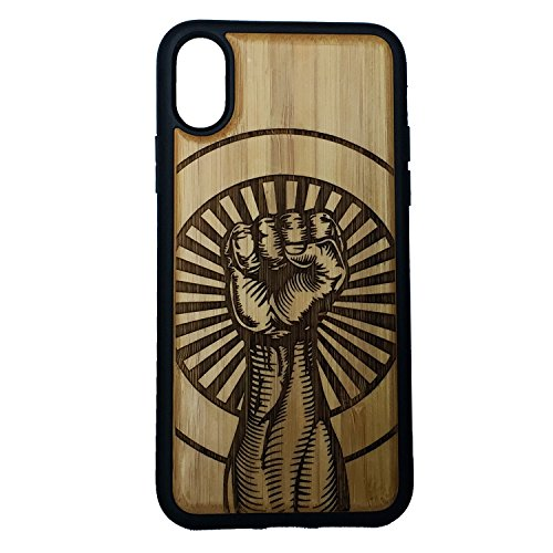 Raised Fist Phone Case for iPhone Xs MAX by iMakeTheCase | Eco-Friendly Bamboo Wood Cover TPU Wrapped Edges | Revolution Unity Salute | Strength Defiance Resistance | Counterculture Hipster