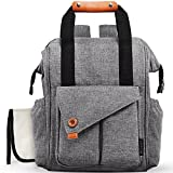 Diaper Bag Baby Diaper Backpack Multi-function Waterproof Travel Backpack with Changing Pad, Stroller Straps, Insulated Pockets,Grey
