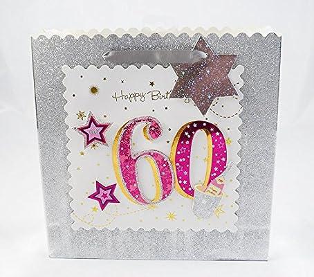 Happy 60th Birthday Gift Bag Silver Glitter 3D Pink Luxury Milestone