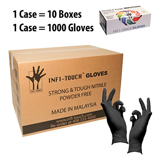 Infi-Touch Heavy Duty Nitrile Gloves, Strong & Tough, High Chemical Resistant, Disposable Gloves, Powder-Free, Non Sterile, Ambidextrous, Finger Tip Textured (10, Medium)