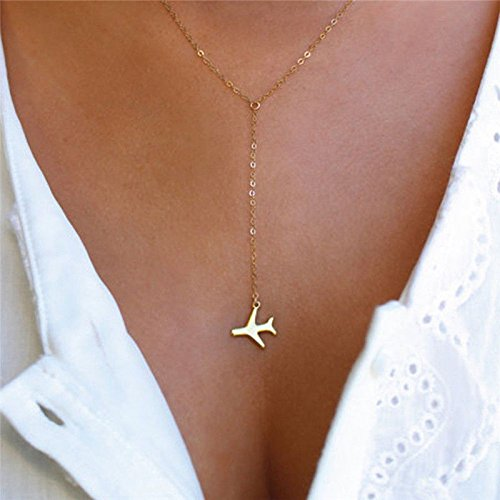 (Bodyslam Vintage Women Gold Airplane Pendant Layered Necklace Tiny Dainty Jewelry Gift)