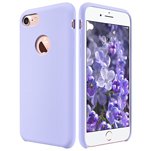 ULAK iPhone 7 Case, Lavender Slim Fit Liquid Rubber & Silicone Protective Shock Absorption Cover with Soft Microfiber Cloth Lining Cushion for Apple iPhone 7 4.7 Inch,Purple