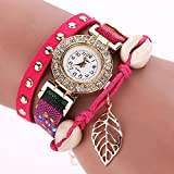 Fashion Women's Watch Crystal Stainless Steel Leather Analog Quartz Wrist Watch, Easy To Read, Faux Leather Band, Dress Wrist Watch, Red