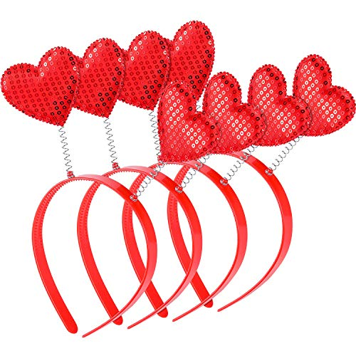 Zhehao 4 Pieces Valentine's Day Heart Headband Heart Headbopper Valentine Red Plastic Headband for Holiday Costume Party ()