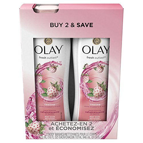 Body Wash for Women by Olay, Fresh Outlast Cooling Body Wash, White Strawberry/Mint - 16.0 Fl Oz, 2 Count