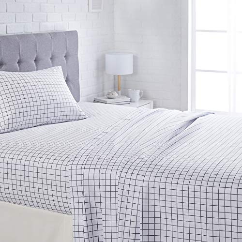 "AmazonBasics Lightweight Super Soft Easy Care Microfiber Bed Sheet Set with 16"" Deep Pockets - Twin, Blue Grey Windowpane"