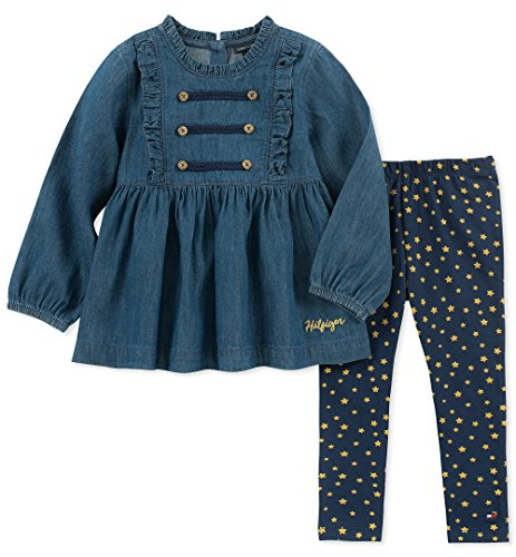 Tommy Hilfiger 2 Piece - Tommy Hilfiger Baby Girls 2 Pieces Tunic Pants Set, Navy/Print, 24M