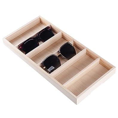 BUONDAC Organizador Bandeja Gafas de Sol con 6 Compartimentos Caja Estuche de Madera Almacenamiento Expositor de Gafas