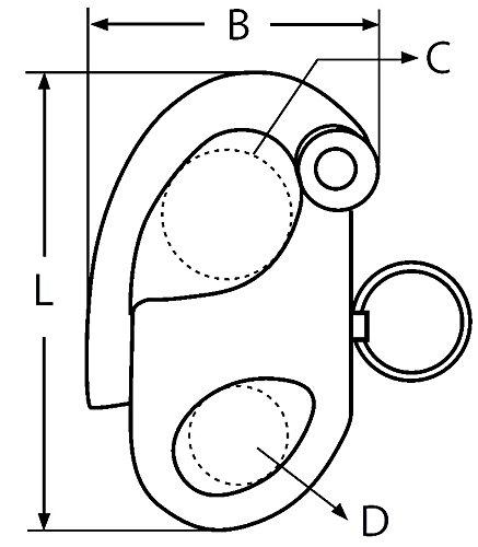 acero inoxidable 316/ Mosquet/ón driza con anilla lote de 2 /A4 longitud de 45/mm