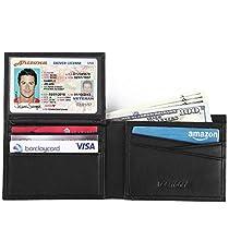 Teemzone RFID Mens Leather Wallet Credit Card Holder Black Slim Wallets for Men
