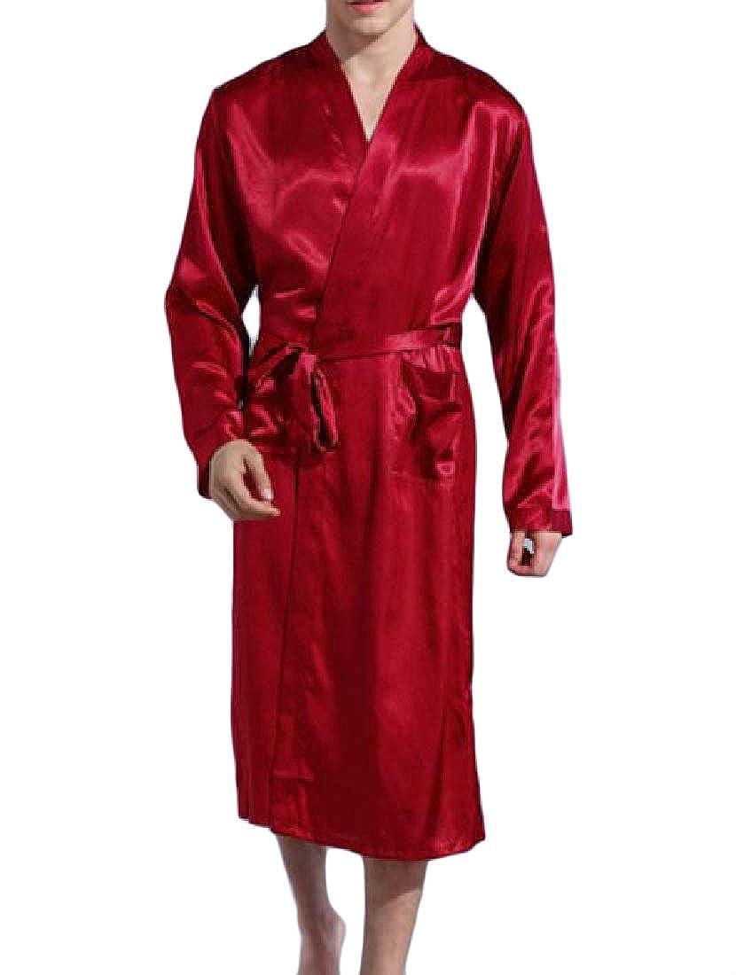 Howme Men Long Sleeve Satin Long Charmeuse Bathrobe Oversized Sleepwear