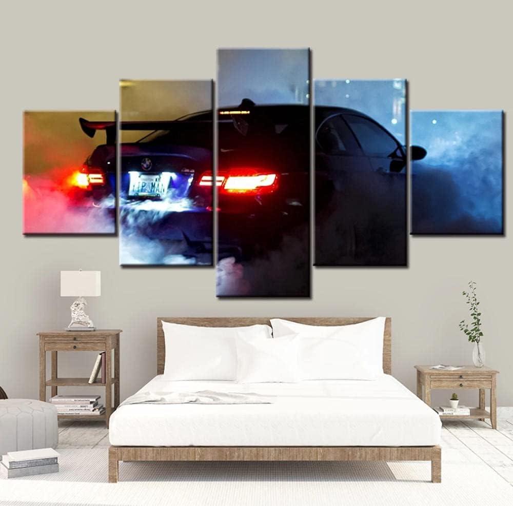 5 Panels Bmw M3 Supersportwagen Wandkunst Poster Leinwand Bilder HD-Drucke Gemälde Schlafzimmer Wohnzimmer 150x80cm